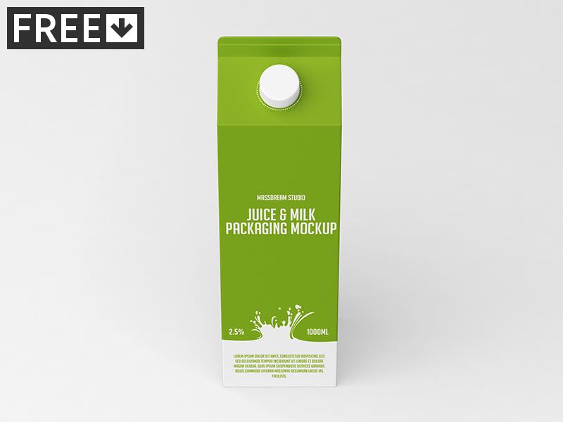 Juice / Milk Packaging Mock-Up packaging pack mockup milk liquid juice fruit drink cardboard bottle