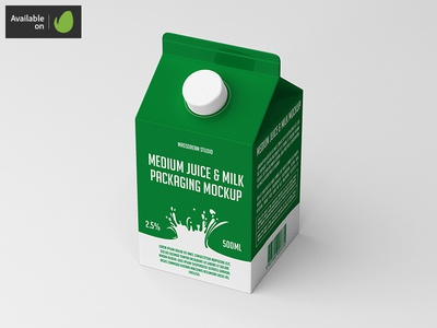 Medium Juice / Milk Packaging Mock-Up packaging pack mockup milk liquid juice fruit drink cardboard bottle