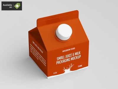 Small Juice / Milk Packaging Mock-Up packaging pack mockup milk liquid juice fruit drink cardboard bottle