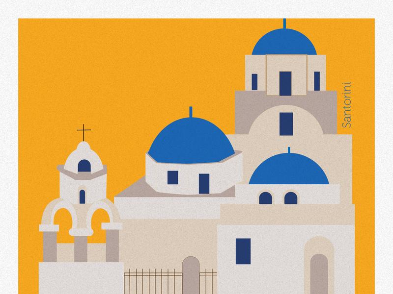 Santorini City İllustration greece santorini city debut vector animation flat design illustration