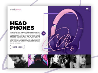 Landing page for music shop
