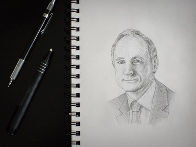 Internet Thinkers: Tim Berners-Lee portrait pencil drawing cross hatch