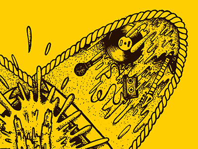 Rock and roll disco rock and roll long play vinil illustration yellow black rock