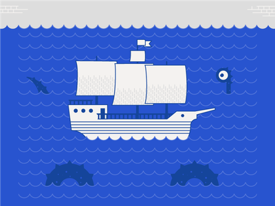 Ahoy!  waves monster sea magellan ship illustration