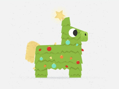 Pinata tree christmas pinata character illustration