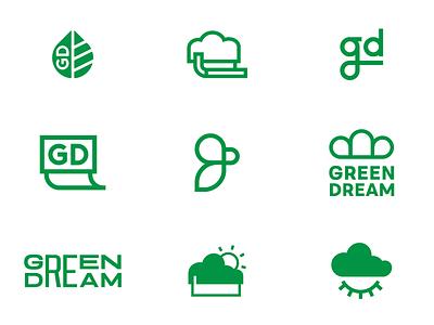 Green dreams friendly eco cloud branding logomark logo