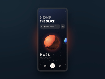 Discover the Space | Carousel discover dark aftereffects planet space carousel uidesign app motion animation ux ui