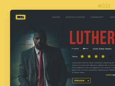 Daily UI #003 - Landing page drama form imdb luther show tv web dailyui daily landing challenge ui
