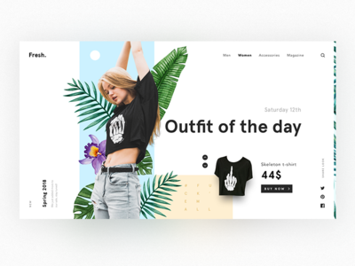 Outfit of the day product spring fresh plants girl clothes e-commerce fashion landing web ux ui