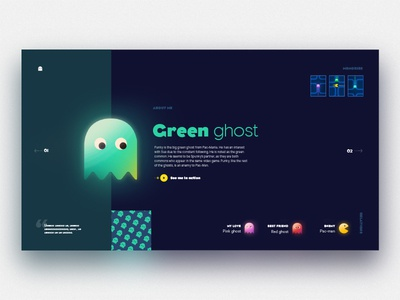 Green ghost about page texture grain glow ghost pac-man game ui web about landing
