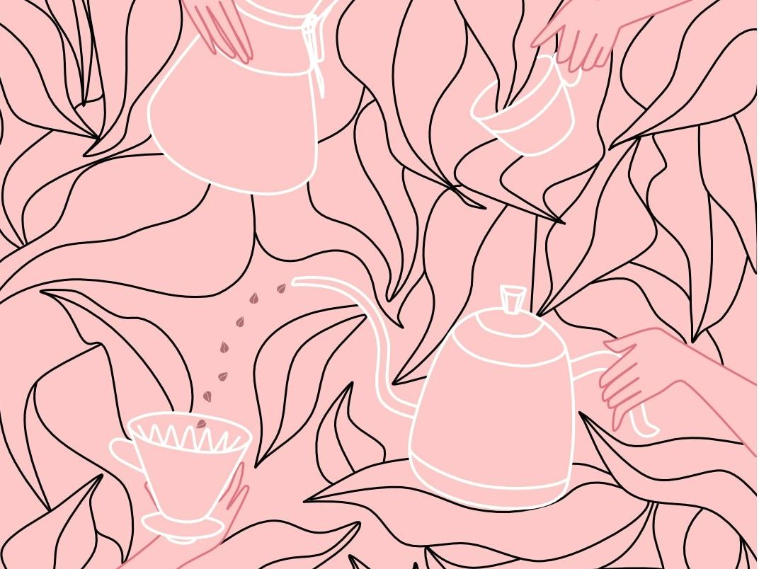 coffee days chemex hario plant illustration hands barista coffee line art vector artwork cover poster illustration