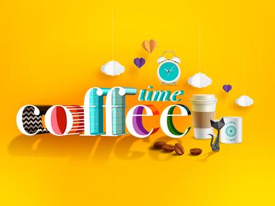 Coffee Time web typography digital illustration