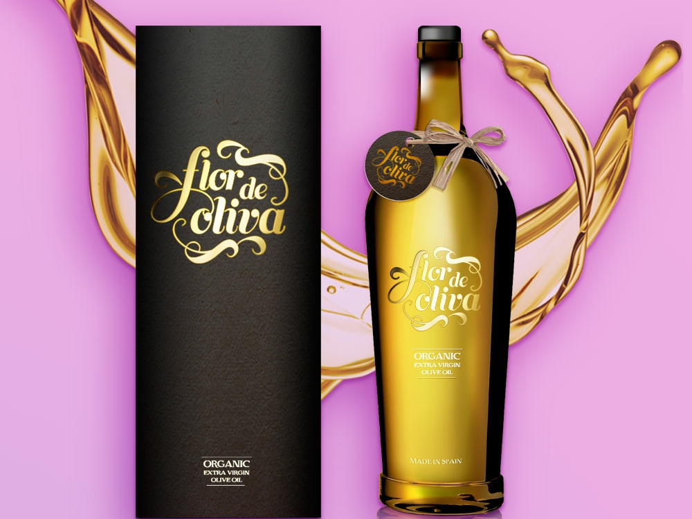 Packaging Flor De Oliva Spanish Olive Oil typography package design logo branding