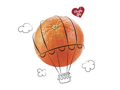 Eat Fruit: Orange adveristing concept digital illustration