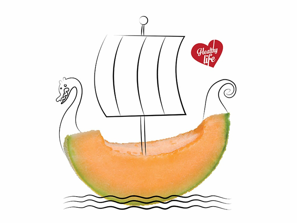Eat Fruit: Melon concept adveristing digital illustration