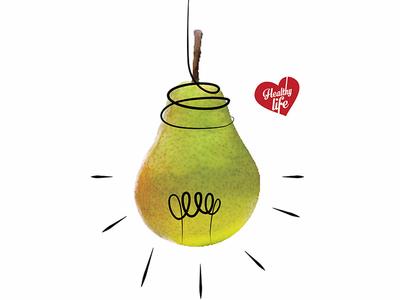 Eat Fruit: Pear concept adveristing illustration