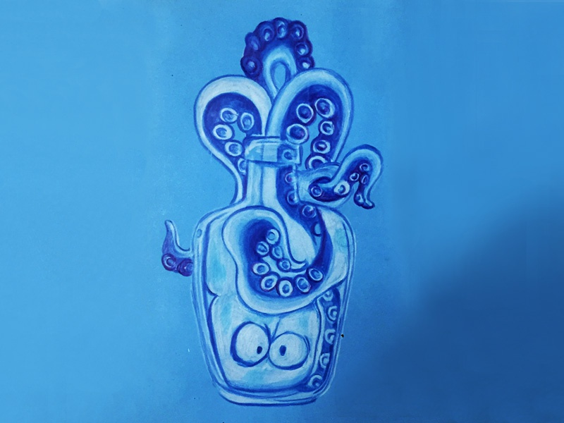Crystal Octopussy pencil drawing illustration