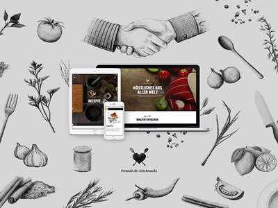Freunde des Geschmack products digital design drawing mobile responsive illustration brand food platform website interface