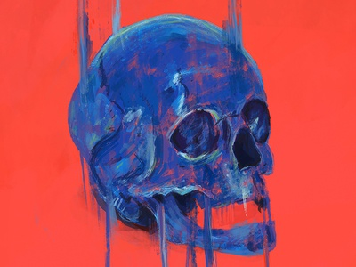 Skull design arts digital brushes drawing painting photoshop blue red digital painting skull illustration