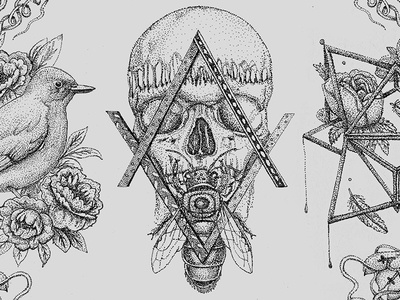 Pointillism I points design black style tattoo birds skull drawing dots pointillism illustrations