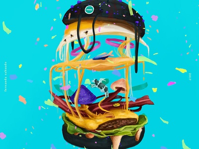 Burger Super Lecker  surreal animals design arts fun brushes drawing painting photoshop digital painting burger illustration