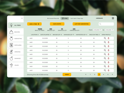 Tree Farm Management Web Application farm tree application flat ux ui web design