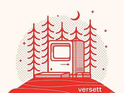 Versett - Mini Camp 2020 t-shirt illustration illustrator design t-shirt design computer retro macintosh forest camp illustration
