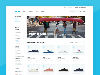 Product Listings Exploration product design ecommerce filters shoes ui web
