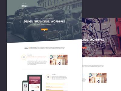 Freebie PSD:  MINI OnePage Creative Template  onepage psd agancy freebie minimal flat singlepage web template freedownload mini creative landing page