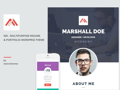MD – Multipurpose Portfolio WordPress Theme metrothemes cv themeforest template parallax onepage flat creative portfolio resume personal md