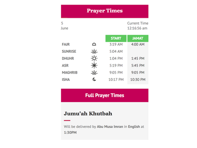 Muslim Daily Prayer Time WordPress Plugin  islam widget design wordpress plugin wordpress prayertime muslim