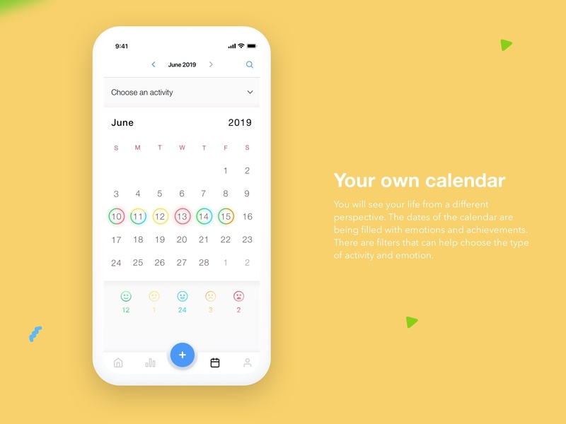 Calendar interface - mood journal for emotion tracking app tracker ios app ui feelings tracker feeling emotion tracker emotion journal calendar app calendar ui design design