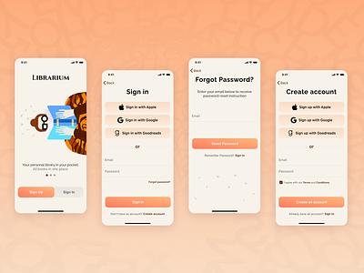 Librarium illustration mobile app ios application ux account register login sign up sign in reading reader library ui app design books book ebook app mobile
