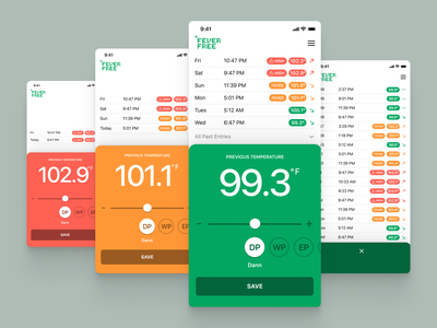 Fever Free - Track your body temperature freelance covid19 covid temperature history slider tracker medical app ux iphone iphone app ui
