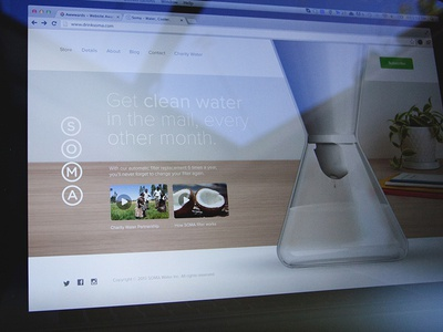 Soma Water website interface ui concept water photography desk background image full screen product whitespace