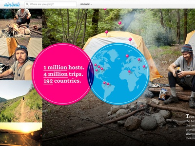 Airbnb Trust & Safety airbnb website interface circles map background image campfire outdoors pins