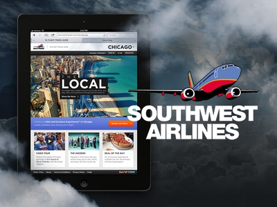 Southwest Airlines In-Flight Travel Guide ipad interface southwest mobile web responsive e-commerce travel guide grid typography shopping events