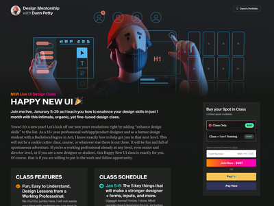 Join my Live UI Design Class! web design interface design ux checkout illustration 3d class course event shopping e-commerce announcement home page homepage landing page