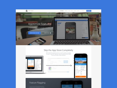 Apptimize Features features interface website walk through product detail user interface iphone app ab testing landing page