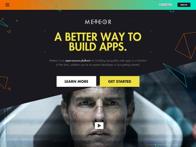 Meteor.com Exploration meteor interface homepage landing page futura space tom cruise buttons simple logo polygon inteference