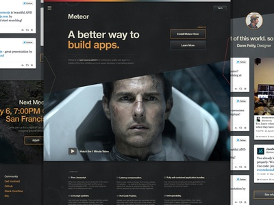Meteor.com Exploration _V 2.0 home page meteor interface homepage landing page helvetica space tom cruise buttons simple grunge polygon
