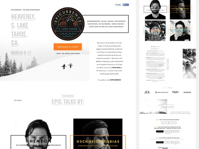 Epicurrence, the Non-Conference landing page website interface conference event snowboarding grid
