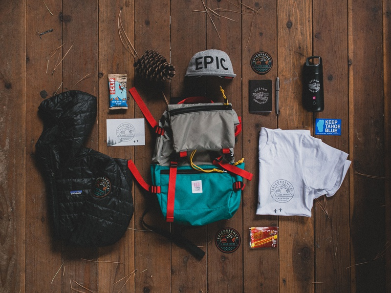 The Epicurrence Welcome Pack patch sticker logo card thermos backpack jacket patagonia tshirt hat epic pinecone