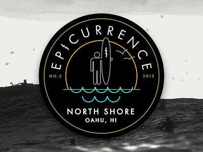New Epicurrence.com surfer wave badge conference surf identity logo hawaii epic