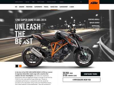 KTM.com automotive feature product detail bike motorcycle interface website