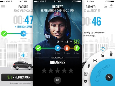 On-Demand Valet App timeline timer gas concierge button ui iphone parking valet on-demand app interface