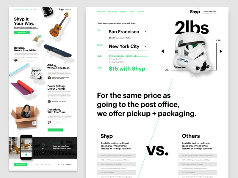 Shyp.com -- Pricing and Use Cases stormtrooper white space case study use case pricing interface