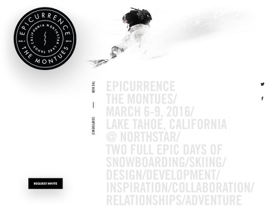 Montues.com website landing page badge adventure interface tahoe skiing snowboarding event conference