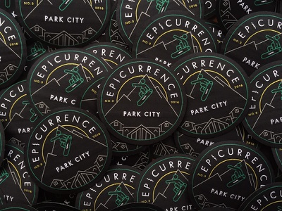 Epicurrence Patches park city mountains snowboarding event conference identity logo badge patch