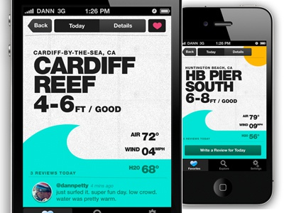 "Surf Report iPhone App for ""_______"" iphone ipad texture wave sports surf measures type ui interface"